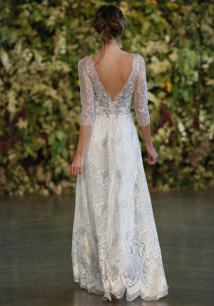 Evangeline - Couture Lace Wedding Dress by Claire Pettibone runway full back
