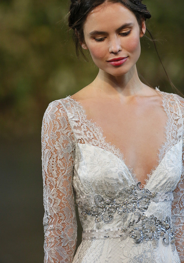 Evangeline - Couture Lace Wedding Dress by Claire Pettibone runway front detail