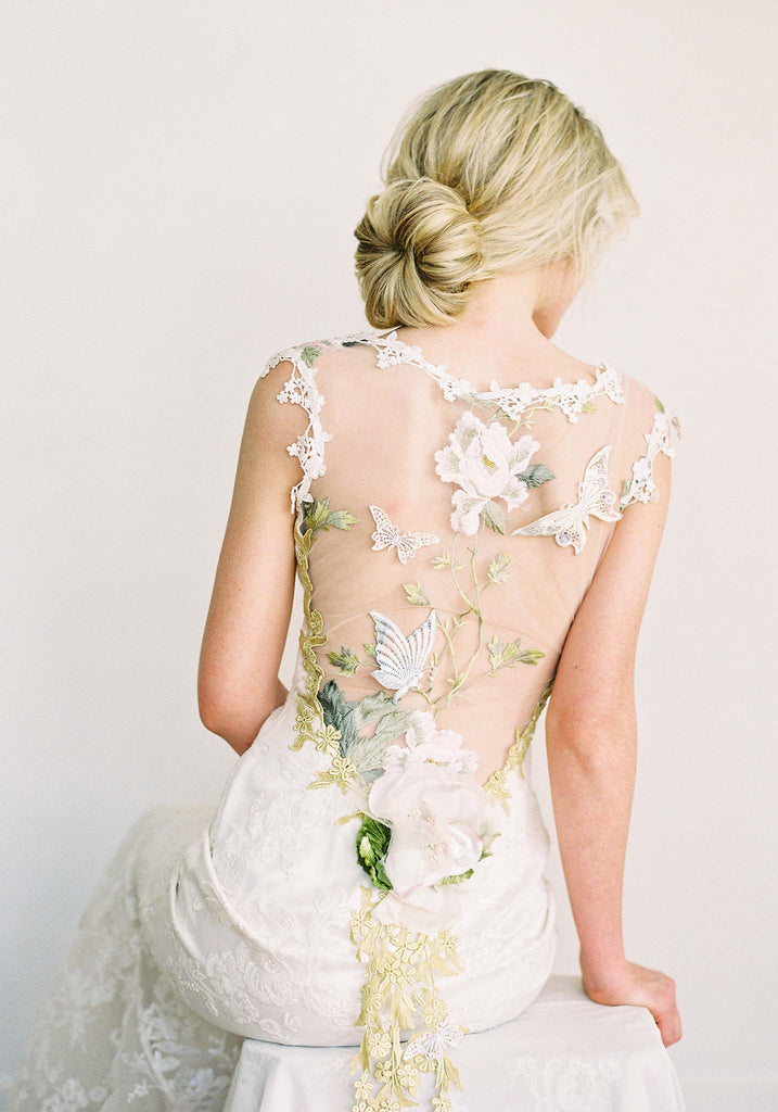 Papillon Multi Colored Wedding Dress With Butterfly Details