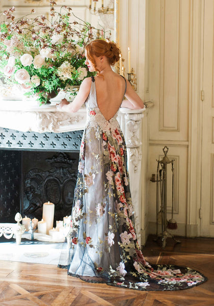 Roses In Garden: Raven Couture Wedding Dress By Claire Pettibone