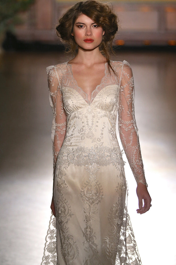 Sinclair - Wedding Dress by Claire Pettibone runway front close up