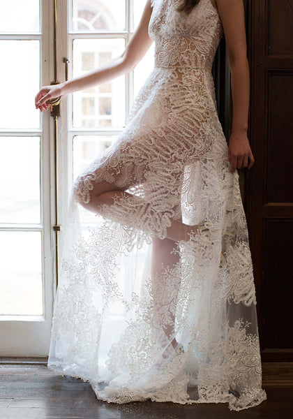 Claire Pettibone Lace Snow Wedding Gown