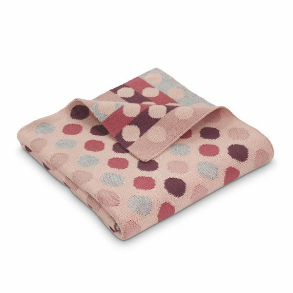 Bubble Cotton Spot Knitted Blanket Pink