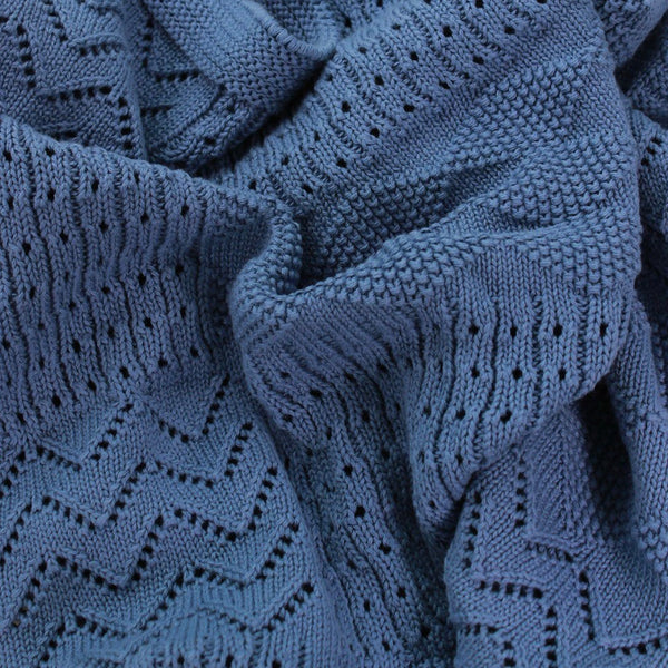 Jessie Knitted Pattern Baby Blanket Blue