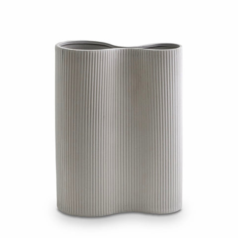 Ribbed Infinity Vase (M) Light Grey