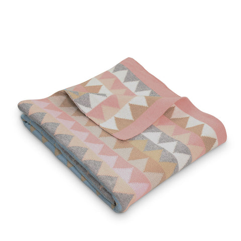 Archie Triangles Cotton Blanket Light Pink