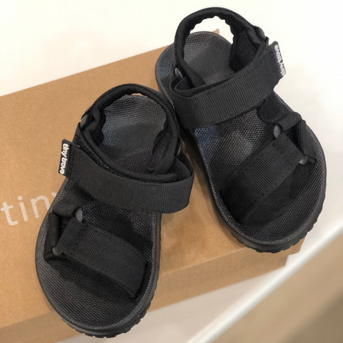 Tiny Trove Olympia Velcro Sandals Black