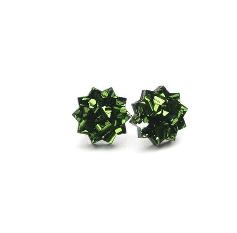 Star Stud Earrings Green