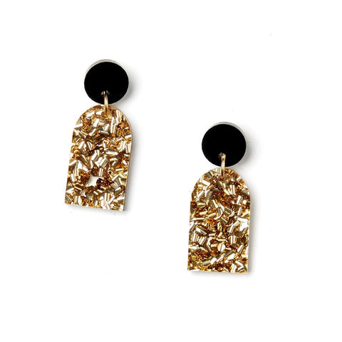 Arc Earrings Black/Gold