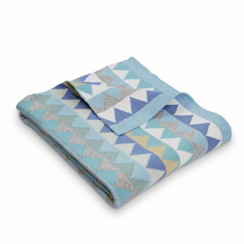 Archie Triangles Cotton Blanket Light Blue