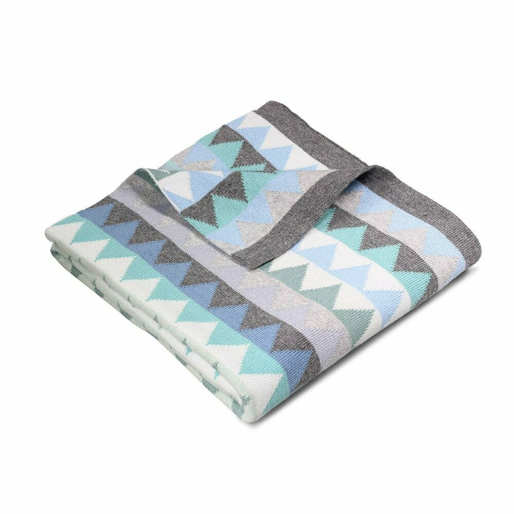 Archie Triangles Cotton Blanket Sky