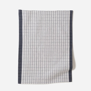 Heavy Cotton Tea Towel Navy/White Set Of 2