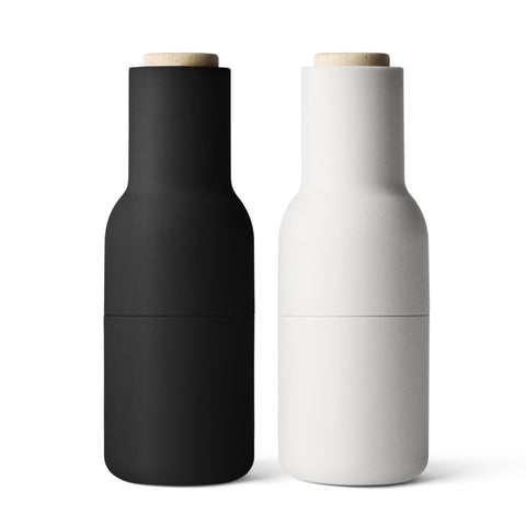 Menu Bottle Grinder Set - Ash & Carbon Beech Lid