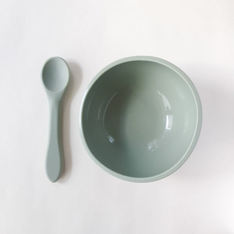 Silicone Suction Bowl and Spoon Set Sage