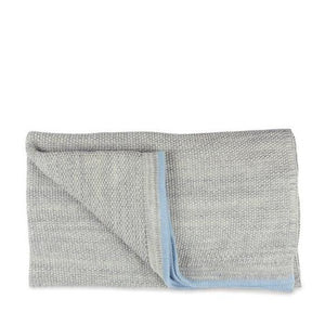 Grey Baby Blanket with Blue Stripe