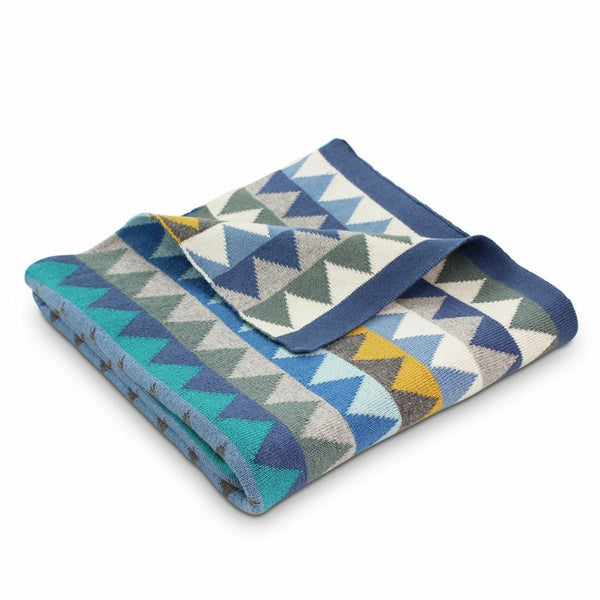 Archie Triangles Cotton Blanket Blue
