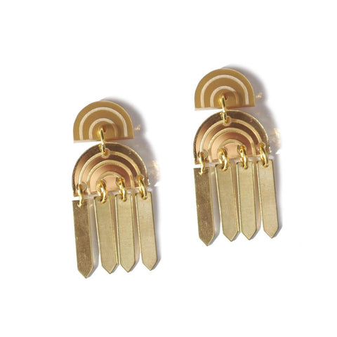 Rainbow Tassel Earrings Gold