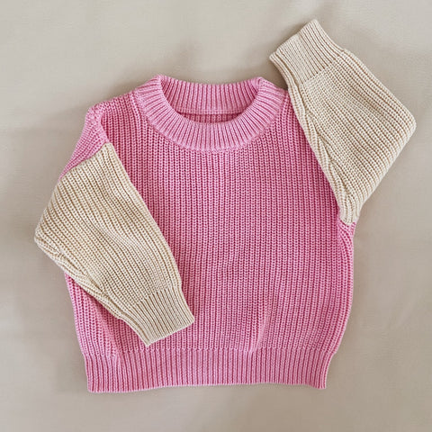 Martin Colour Block Knit Jumper Pink/Cream