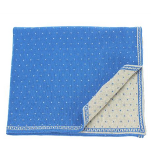 Misty Cotton Knit Bassinet Blanket Royal Blue