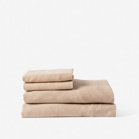 Sove Linen Fitted Sheet Latte