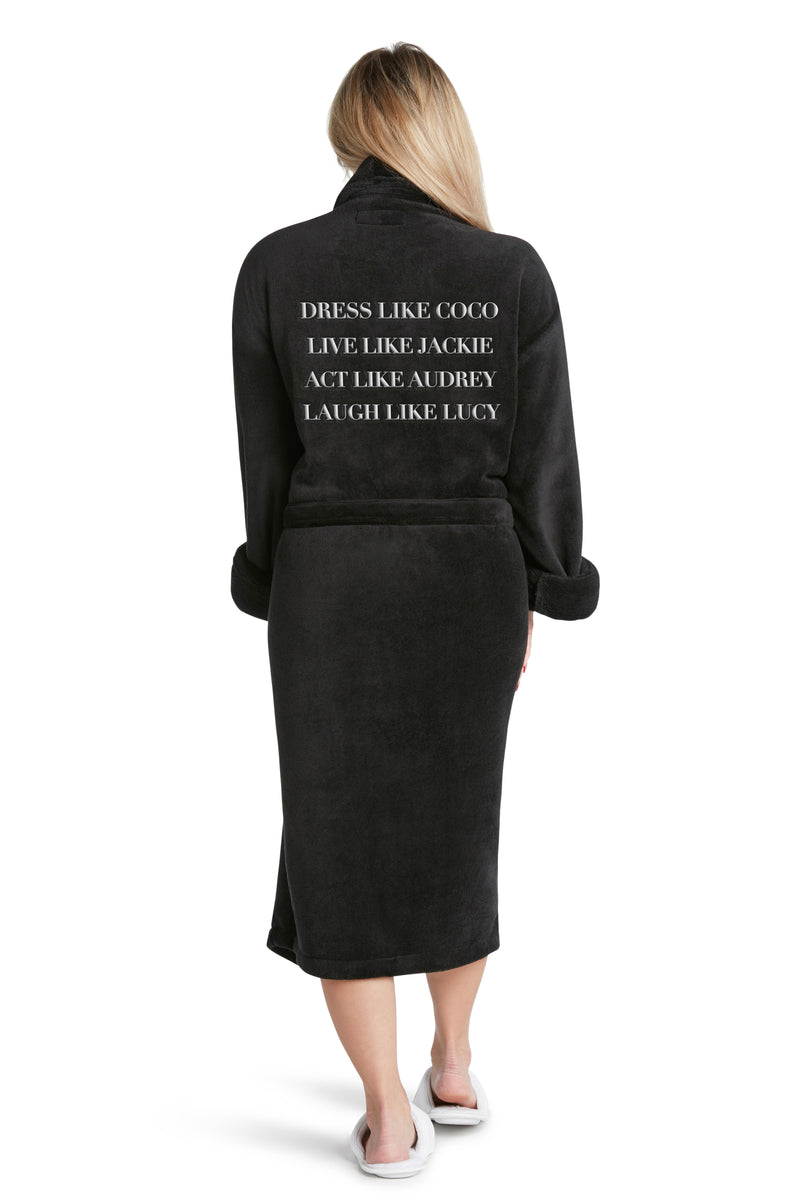 LUXE PLUSH ROBE BLACK- Dress Like Coco