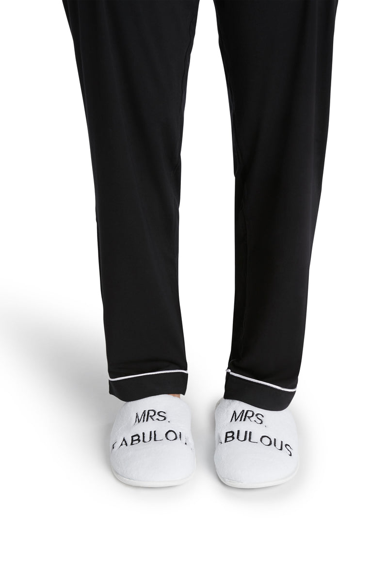 Women's White Slippers - Mrs. Fabulous