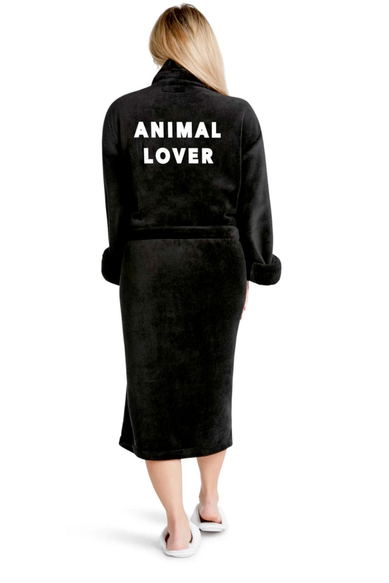 LUXE PLUSH ROBE BLACK- Animal Lover