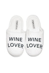 Women's White Slippers - Wine Lover