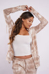 CLOUD ZIP UP - Taupe Tie Dye