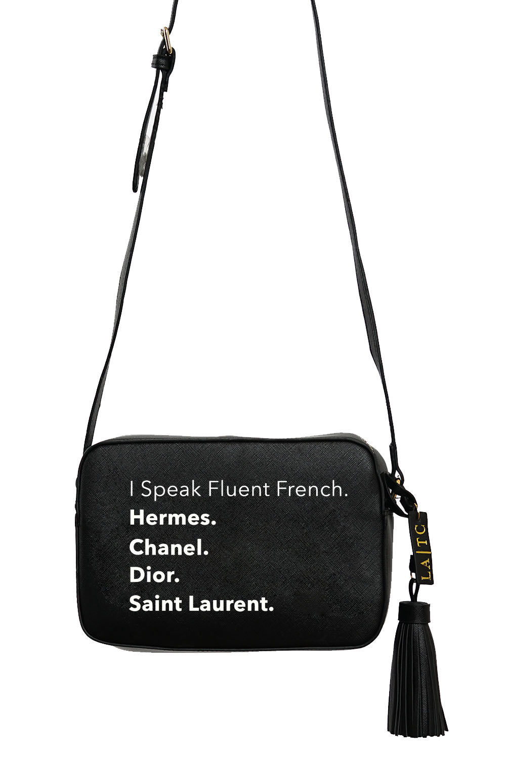 VEGAN CROSSBODY BAG - Fluent French (Black)