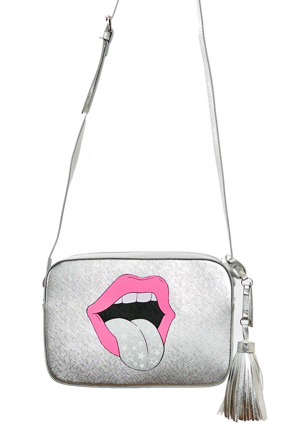 VEGAN CROSSBODY BAG - Rollin With The Homies (Silver)