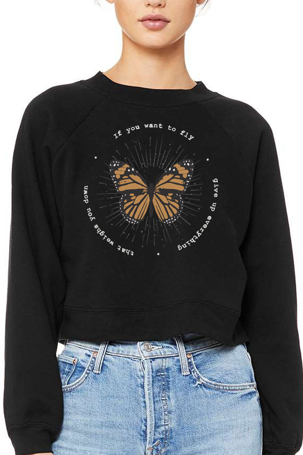 NESSA RAGLAN CREWNECK - IF YOU WANT TO FLY