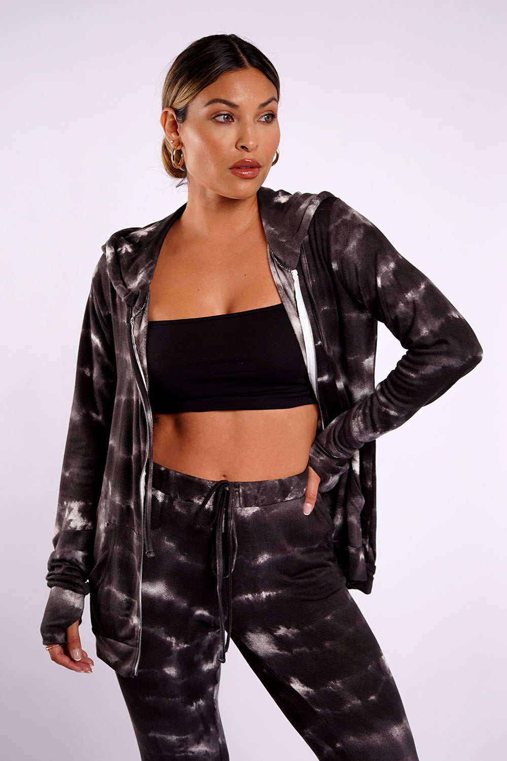 CLOUD ZIP UP- Black Tie Dye