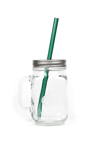 "mason mug combo with a green 8"" reusable glass straw"