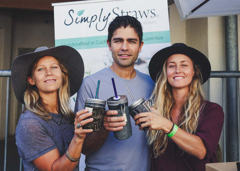Adrian Grenier at the Simply Straws Booth