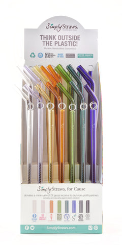 glass straws, glass straw display, eco straws, reusable straws, pyrex straws, pop display, straw brushes, straw cleaners, retail straws