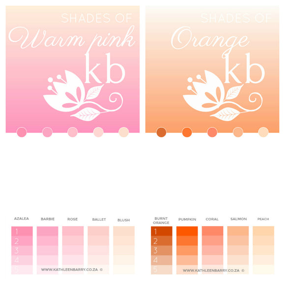 Shades of warm pink, blush pink and peach
