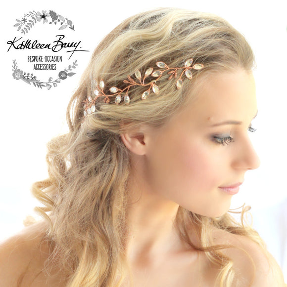 Minke leaf hair vine rhinestone - Copper, Rose gold, gold or silver hairpiece