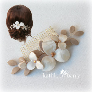 Florence hairpiece, Damask fabric flowers with faux suede leaves - Color variations