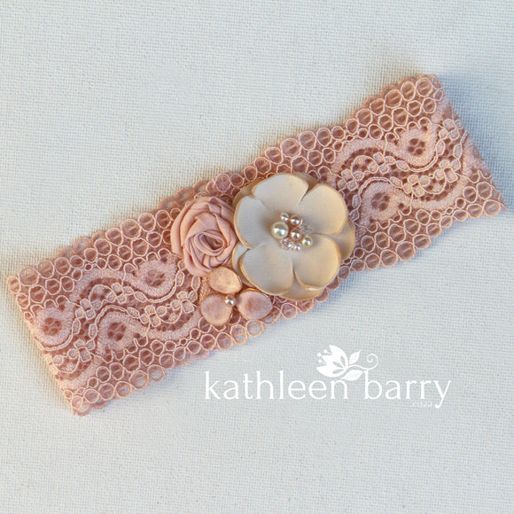 Simone Garter - Shades of blush & dusty pink - Custom colors to order