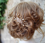 Alison pearl floral hair comb - Color options and metallic finishes available