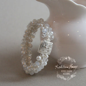 Alexa cuff bracelet - opalescent crystals & pearls - opal moonstone
