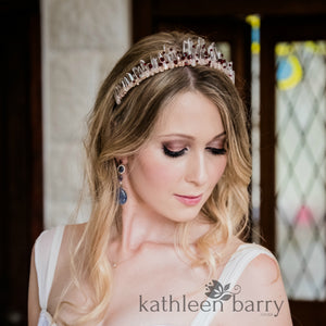 Crystal quartz bridal crown with rose gold, gold or silver wirework - Added crystal detailing