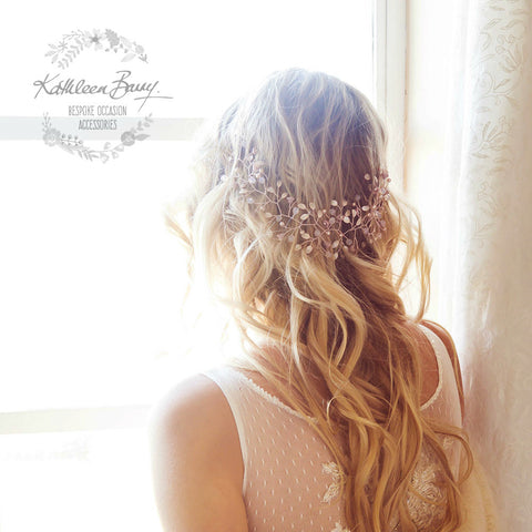 Alexanne hair vine - leaf and floral detail - various color options available - Rose gold