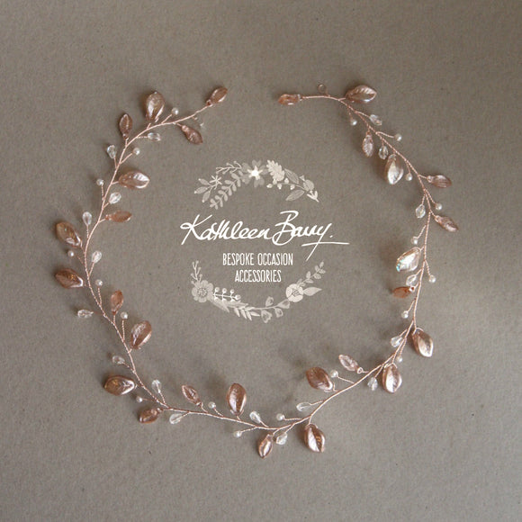 Amanda metallic leaf Crystal & Pearl hair vine / wreath - Silver, gold or rose gold.