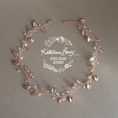 Amanda metallic leaf Crystal & Pearl hair vine, wreath - Available in Rose gold, gold, Silver