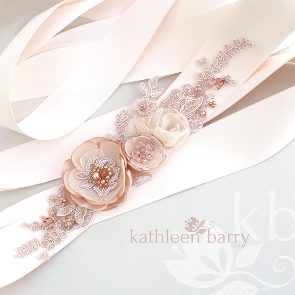 Amelia Wedding dress sash / belt - Blush pink / ivory cream / white - Color customization available