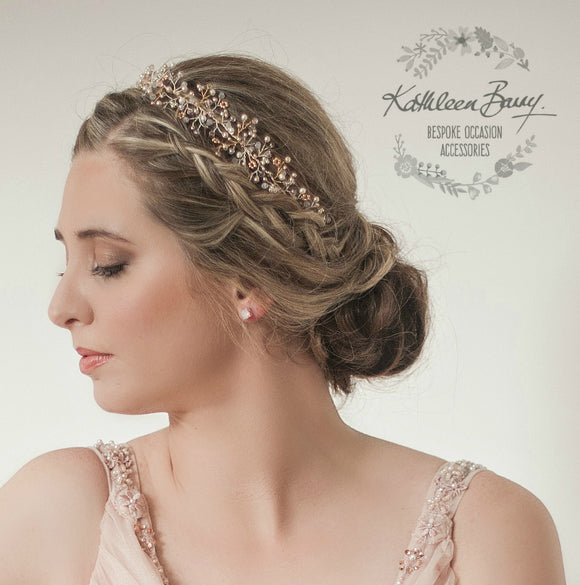 Andrea Gold or rose gold dainty headband crystal, pearl and tones of blush pink
