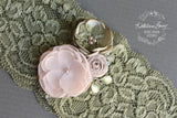 Anique Garter sage green & blush pink flower detail - Custom colors to order