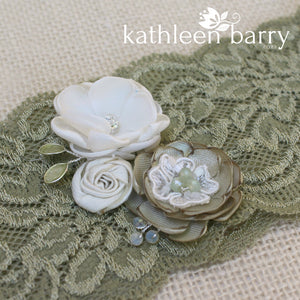 Anique Garter sage green & ivory/white or pink flower detail - Custom colors to order